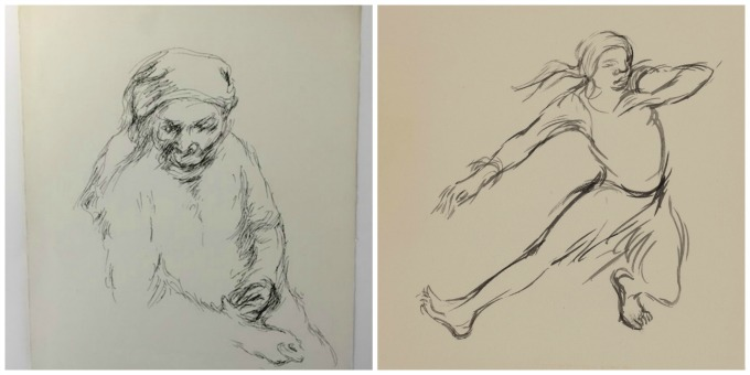 Sketches of Grandma Sarah (left) and Dancing Granny by Ashley Bryan. Courtesy of the Ashley Bryan Center.