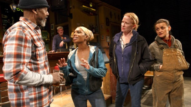 "The Tony-nominated (Pulitzer Prize-winning) ""Sweat,"" with (from left), John Earl Jelks, Tony nominees Michelle Wilson and Johanna Day, and Alison Wright. Photo: Joan Marcus"