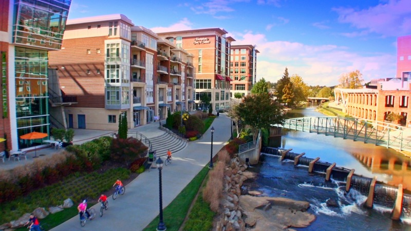 Downtown Greenville is walkable and bike-friendly. Photo: VisitGreenvilleSC