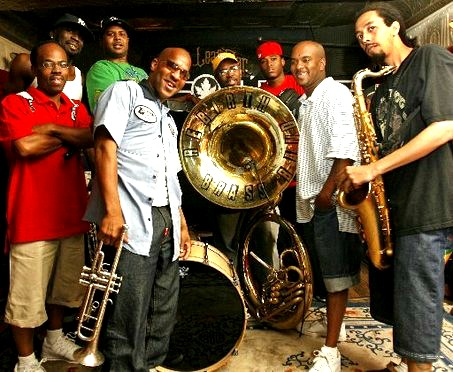 The musicians of the Rebirth Brass Band play Feb. 24.