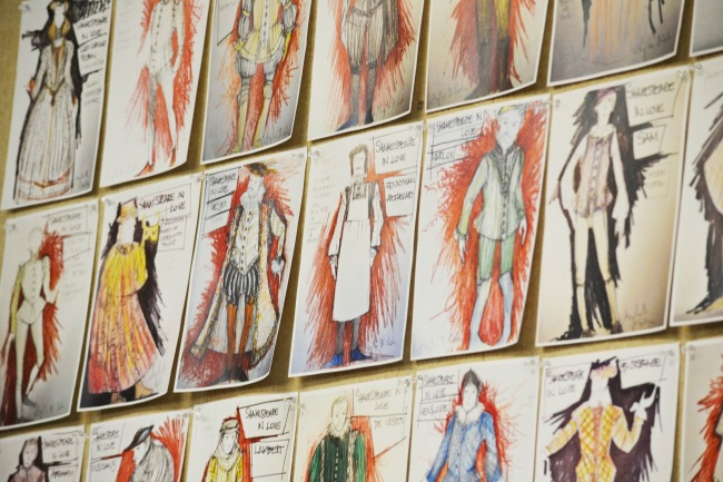 Actors see their costumes, likely for the first time, in these renderings at the first rehearsal. Designs by Angela Balogh Calin. Photo: Kathleen Covington