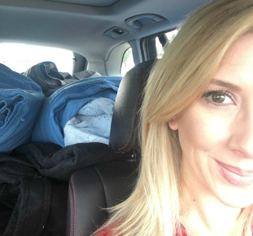 Jen Kahn and a carload of discarded drops.