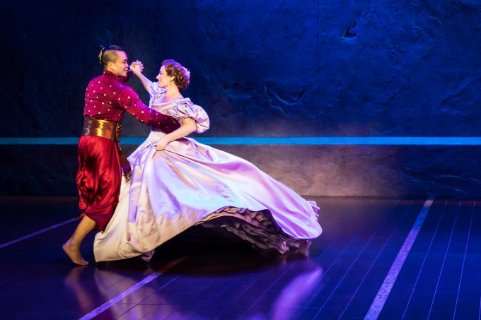 """Anna (Laura Michelle Kelly) and the King (Jose Llana) do Act 2's """"Shall We Dance"""" polka. Photo by Matthew Murphy"""