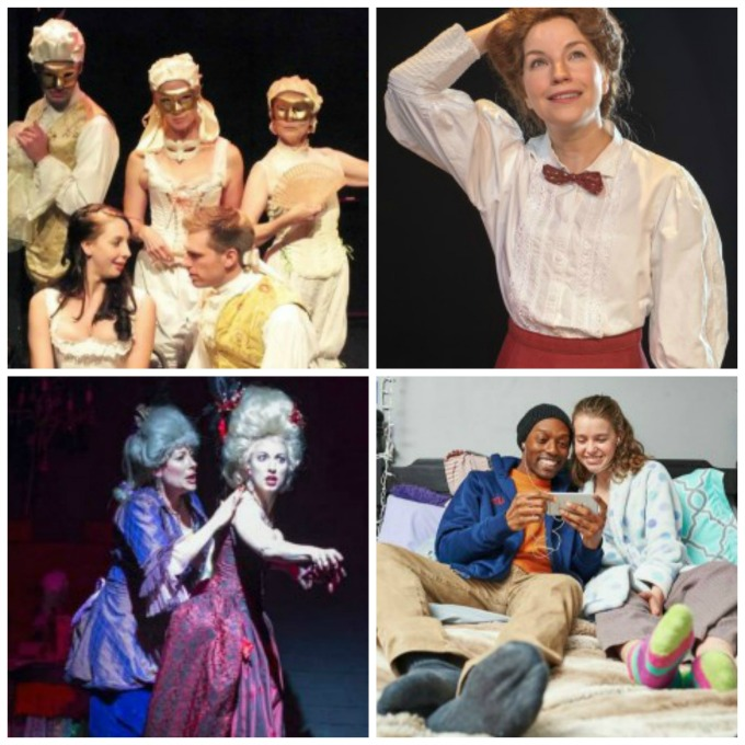 "Lauren Gunderson plays seen in Atlanta in recent seasons include (top, from left) ""EMILIE: xxxxxxxxxx at the Weird Sisters in 2013, ""Silent Sky"" at Theatrical Outfit in 2015 and (bottom, from left) ""The Revolutionists"" at 7 Stages in 2016 and ""I and You"" at Aurora Theatre. also in 2016."